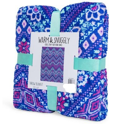 Warm   Snuggly Emoji Icon Throw Blanket 50 x 60 inch Travel Blanket blue  with Mandala 84bfa8bfe