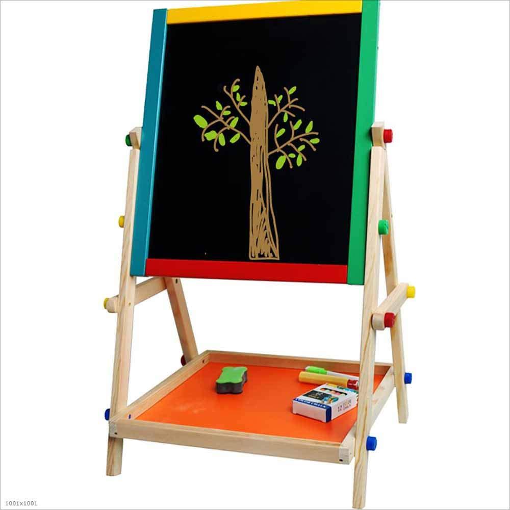 HCYTPL Easel in Legno massello, Un Doppio Lato rossoante di Disegno Bordo Duplex Alfabeto Magnetico e Numeri per l'educazione dei Bambini