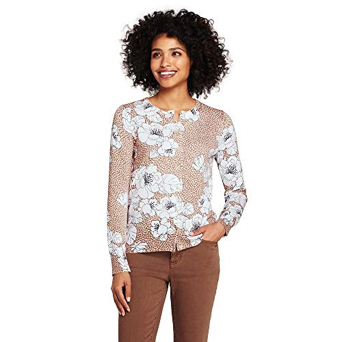 Lands' End Women's Petite Supima Cotton Cardigan Sweater, M, Coral Spice Floral - Floral Ribbed Cardigan