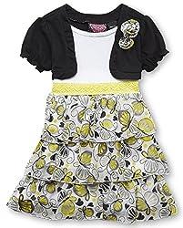 Little Girls Short Sleeve Tiered-Skirt Dress (4, Butterflies)