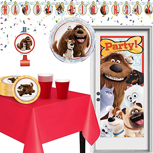 The Secret Life of Pets Birthday Party Supplies Pack | Door poster, Birthday banner, Party Blowouts, Table Cover, Foil Balloon, Plates, and Red Cups | Kid's Birthday Party Supplies (Secret Life Of Pets Birthday Party Invitations)