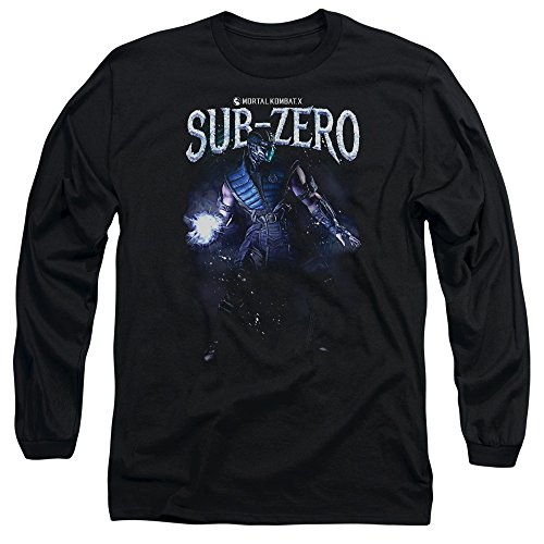 Mortal Kombat Sub-Zero Mens Long Sleeve Shirt (Black, Large) (Women Of Mortal Kombat)