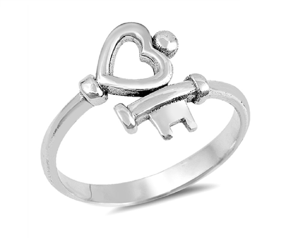 CloseoutWarehouse Sterling Silver Key To My Heart Ring Size 7