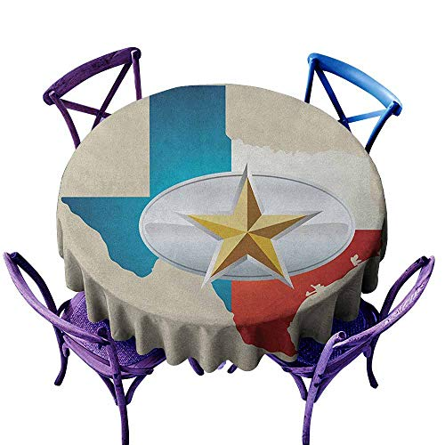 ONECUTE Waterproof Table Cover,Texas Star Cowboy Belt Buckle Star Design with Texas Map Southwestern Parts of America,Party Decorations Table Cover Cloth,47 INCH Multicolor