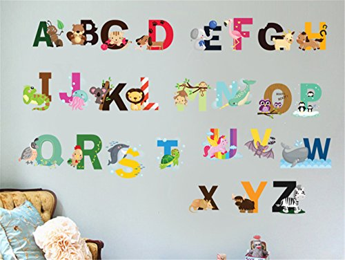 KELAI & craft art decor ABC Design Vinyl Wall Decal Stickers-Removable Lovely Animal Alphabet Wall Decals for Kids Rooms Nursery Playroom Boys Bedroom (Small)
