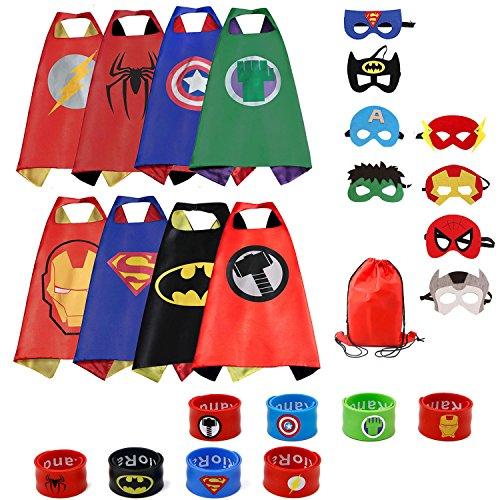 Dress up Costumes 8-Pack Cartoon Satin Capes Set with Felt Mask,Slap Bracelets and Exclusive Bag for Kids Boys (Cartoon Dress Up Costumes)