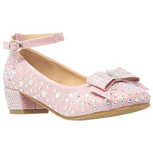 SOBEYO Kids Dress Shoes Girls Glitter Rhinestone Bow Accent Mary Jane Pumps Pink SZ 4 Youth]()