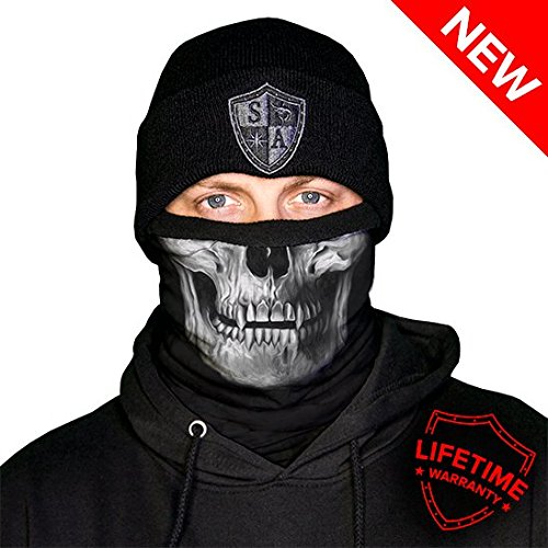 Salt Armour Frost Tech Fleece Lined Face Shield | Black Skull (Fleece Lined Bandana)