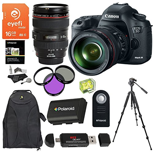 Canon EOS 5D Mark III 22.3 MP CMOS 1080p Full HD Camera Kit EF 24-105mm f/4 L IS USM Lens Eyefi Mobi 16GB Card Velbon Tripod Battery Accessory Bundle