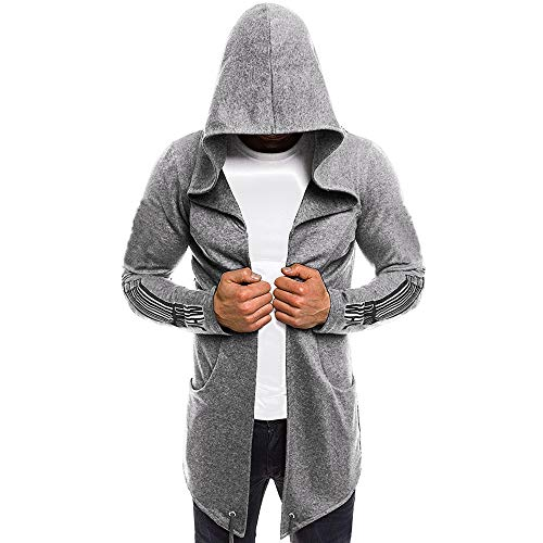 iLXHD Men Splicing Hooded Solid Trench Coat Jacket Cardigan Long Sleeve Outwear(Gray,M)