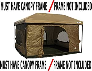Standing Room 100 Family Cabin Camping Tent 8.5 feet of Head Room, 2 Big Screen Doors (4 Screen Doors with Grey XL), Fast Easy Set Up Family Cabin Tent, Big Large Tent, Canopy Frame Not Included!
