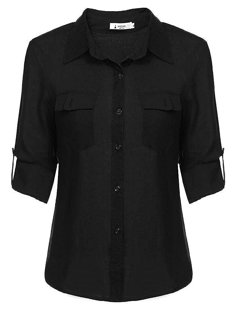 6 arfurt Women's Long Sleeve Button Down Casual Dress Shirt Business Blouse