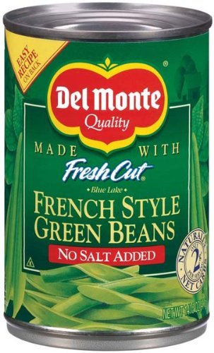 Del Monte No Salt Added French Style Green Beans 14.5 oz (Pack of 24)