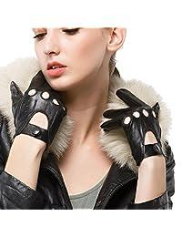 Nappaglo Women Driving Motorcycle Leather Lambskin Full-finger Gloves