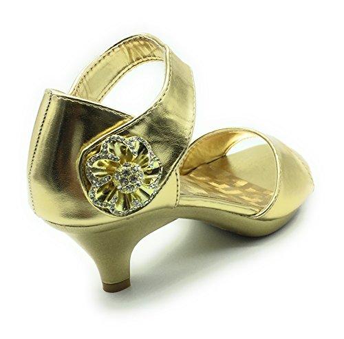 Shoes Delicacy Sandal Heel Gold Angel 62 Womens Rhinestone Dress Strappy Low 67aUq