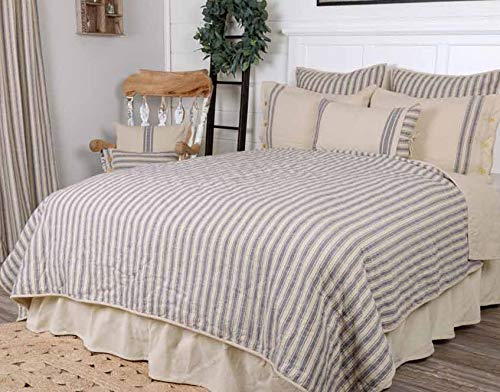 - Piper Classics Market Place Blue Ticking Stripe Quilt, Twin, 86