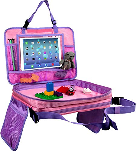 """Kids Travel Tray-4 in 1 Car Seat Travel Play Tray, Backseat Storage Organizer,Carry Bag and iPad & Tablet Holder All in One-Toddlers Lap Tray(17""""x13"""")-Great for Activity, Snacks and Play(Pink)"""