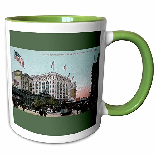3dRose BLN Vintage New York City Collection - Macys and Herald Square New York City Vintage Postcard Reproduction - 11oz Two-Tone Green Mug - Macy's New York Outlet