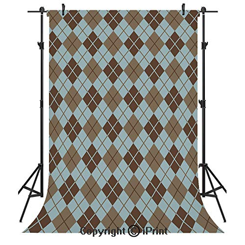 Brown and Blue Photography Backdrops,Argyle Pattern with Diamond Shaped Rectangles Lines Abstract Geometric,Birthday Party Seamless Photo Studio Booth Background Banner 3x5ft,Bluegrey Brown