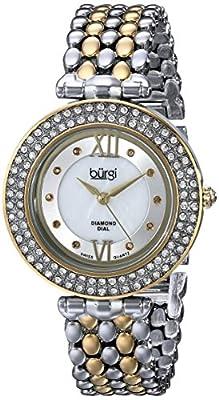 Burgi Women's BUR126 Diamond & Crystal Accented Mother-of-Pearl Swiss Quartz Bracelet Watch from Burgi
