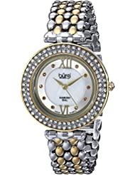 Burgi Womens BUR126TTG Diamond & Crystal Accented Mother-of-Pearl Swiss Quartz Yellow Gold and Silver Bracelet...