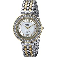 Burgi Women's BUR126TTG Diamond & Crystal Accented Mother-of-Pearl Swiss Quartz Yellow Gold and Silver Bracelet Watch