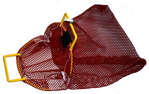 Clam Net - Mesh Catch Bag w/ Coated Galvanized Wire Handle and D-Ring - Nylon Scuba Dive Bag - Game Bag/Fish Bag for Diving & Snorkeling - Net Bag for Clams, Lobster and Game 15-inch x 20-inch Red