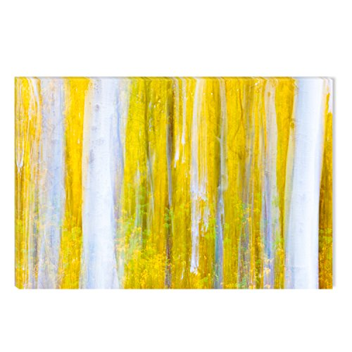 Startonight Canvas Wall Art Sureal Forest Tree Yellow Painting Abstract, Dual View Surprise Artwork Modern Framed Ready to Hang Wall Art 100% Original Art Painting 23.62 X 35.43 - Sureal