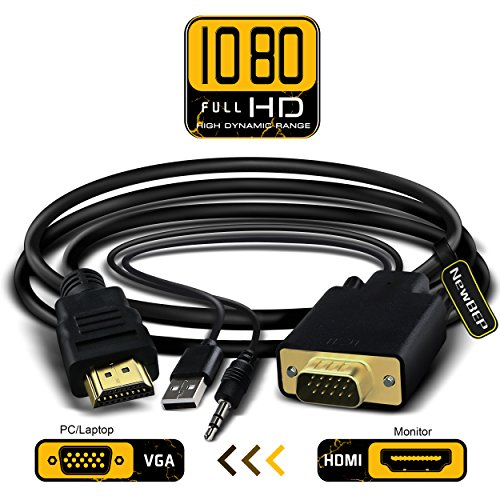 VGA to HDMI Adapter Cable, NewBEP 6Ft/1.8m VGA to HDMI 1080P HD Audio TV AV HDTV Video Converter Cord with 3.5mm Audio Cable & USB Power Cable for PC Computer Desktop Laptop Projector (Auxiliary Fiber Optic Interface)