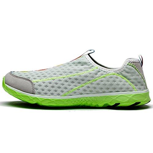 WOTTE Männer Mesh schnell trocknend Aqua Slip auf Wasser Schuhe atmungsaktive Wanderschuhe Weiß