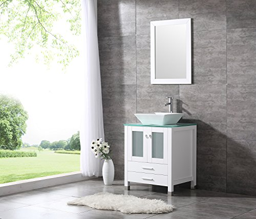 "BATHJOY 24"" White Bathroom Wood Vanity Cabinet Top Ceramic Vessel Sink Faucet Drain Combo with Mirror Vanities Set by BATHJOY"
