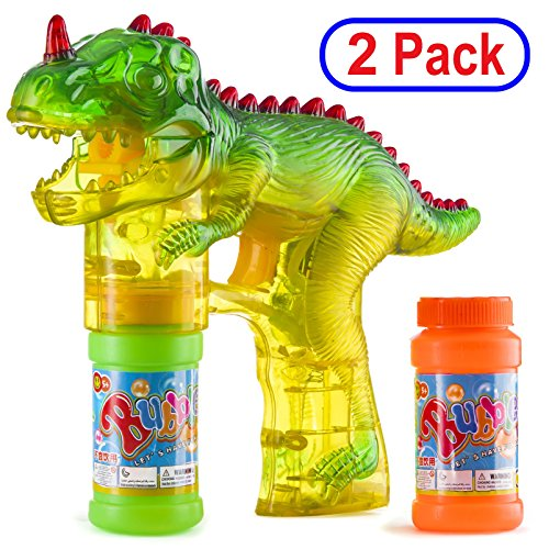 Prextex 2-Pack Dinosaur Bubble Gun Shooter Light Up Bubbles Blower with LED Flashing Lights and Sounds Dinosaur Toys for Kids, Toys Boys and Girls -