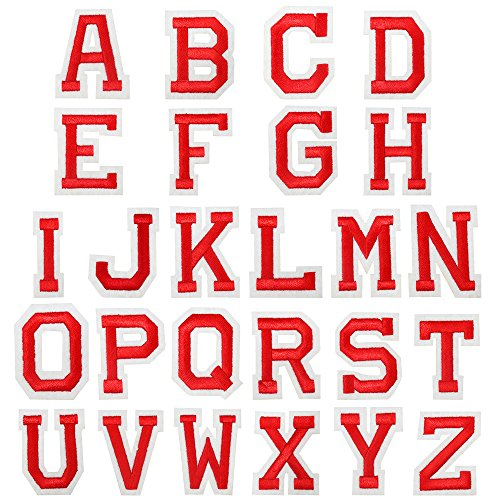 26pcs/lot Alphabet Letter Patches Embroidered Iron On Patch (Red Alphabet)