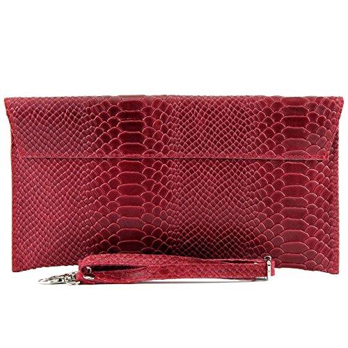 ModaModa de T106S - Bolso (de mano, para mujer, piel italiana lisa) rojo oscuro