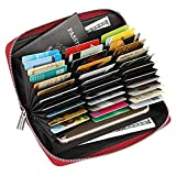 36 Slots Credit Card Wallet Leather RFID Wallet for Women Men, Huge Storage Capacity Genuine Leather Holder Multi Card Organizer Wallet with Zipper (Red)