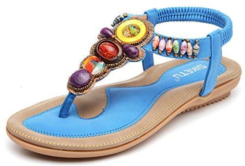 Odema Mujer Verano bohemio Piedra preciosa Diamante de imitacion Boho playa Chancletas Elastico Correa en T Sandalias planas Azul