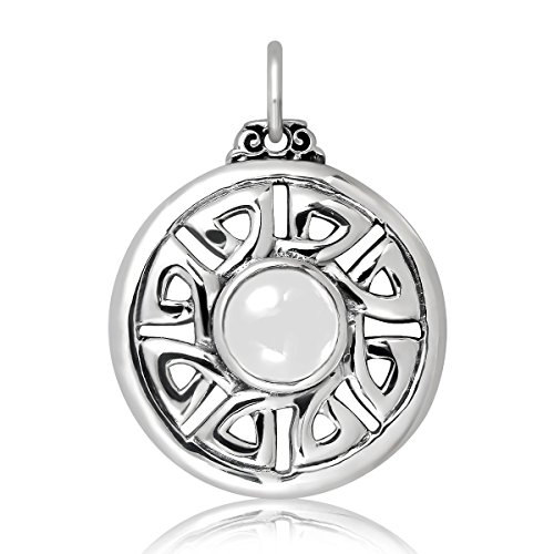 - WithLoveSilver 925 Sterling Silver Charm Enamel Round Celtic for Health Pendant