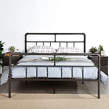 Amazon Com Greenforest Metal Bed Frame Bronze Queen Size