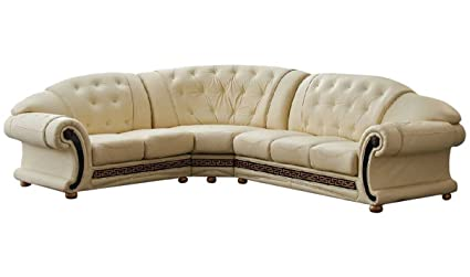 Amazoncom Versace Beige Leather Sectional Sofa In Traditional