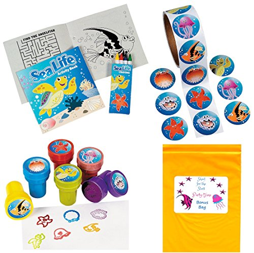 Tropical Sea Life Artistic Party Favor Pack (12 Activity Books with Crayons, 100 Sea Life Stickers, 12 Ocean Creature Stampers) (Sea Tropical Life)
