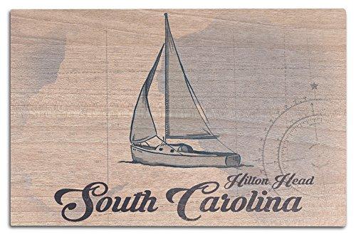 Lantern Press Hilton Head, South Carolina - Sailboat - Blue - Coastal Icon (12x18 Wood Wall Sign, Wall Decor Ready to Hang) (Carolinas Boat Coastal Small)
