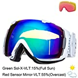 Smith I/O Snow Goggle - White Frame with Green Sol-X and Red Sensor Lenses