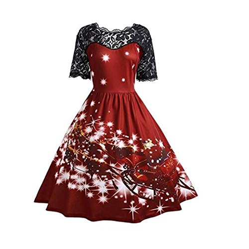Coaktail Imprim Balan Swing Vertvie Rockabilly Patchwork Vintage Courte l Robe oire Rouge pour Vineux No de Femme Dentelle Manches Soire FXTFq0