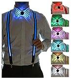Neon Nightlife Men's LED Suspenders & Bowtie Set, Light Up Bowtie, Music Fesitval, Burning Man, Costume Party