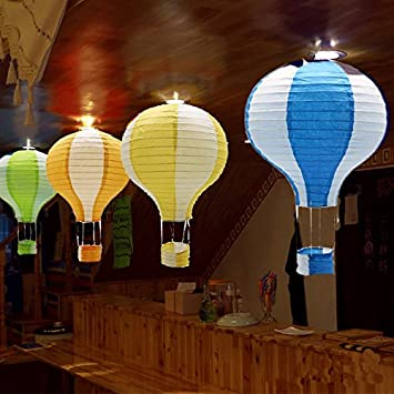 Pack of 6 Pieces Multi Sonnis Hanging Hot Air Balloon Paper Lanterns Set Party Decoration Birthday Wedding Christmas Party Decor Gift 12 inch