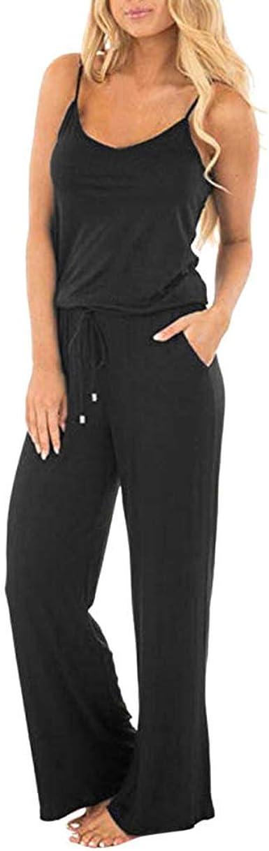 UK Women Sleeveless Pocket Playsuit Holiday Ladies Summer Long Jumpsuit Trousers
