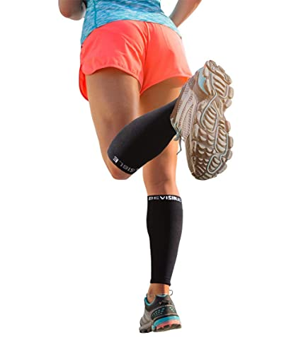 BeVisible Sports Calf Compression Sleeve - Shin Splint Leg Compression Socks  for Men   Women - Our Best Calf Sleeves for Running Cycling Air Travel  Support ... 3d35a7879279