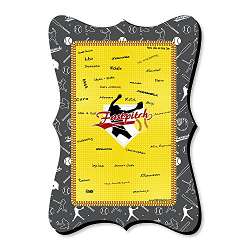 Grand Slam - Fastpitch Softball - Unique Alternative Guest Book - Birthday Party or Baby Shower Signature Mat