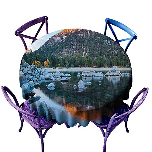 AndyTours Stain Round Tablecloth,Lake Tahoe,Rocks in a Lake Photo North American Landscape Sierra Nevada California USA,High-end Durable Creative Home,60 INCH Multicolor