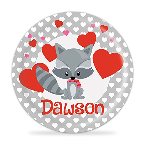 Racoon Plate - Valentines Day Animal Love Heart Melamine Personalized - Racoon Image
